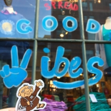 Ned Sticker Campaign - Spread good vibes window display